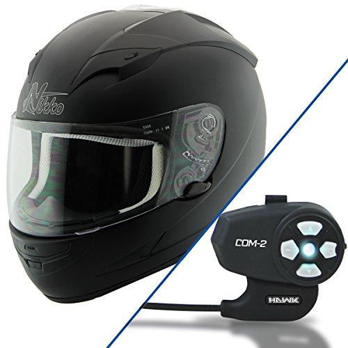 Nikko N916 Matte Black Full Face Helmet with Hawk COM-2 Bluetooth Motorcycle He - Small w COM-2 Intercom