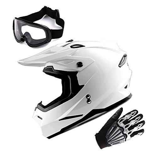 1Storm Adult Motocross Helmet BMX MX ATV Dirt Bike Helmet Racing Style Glossy White  Goggles  Skeleton Black Glove Bundle