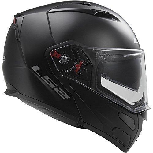 LS2 Helmets Metro Solid Modular Motorcycle Helmet with Sunshield Matte Black Medium