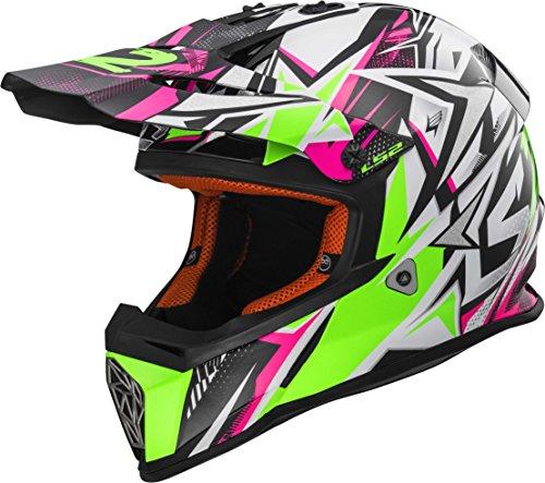 LS2 Helmets Strong Unisex-Adult Off-Road-Helmet-Style Fast Adult PinkGreen Small