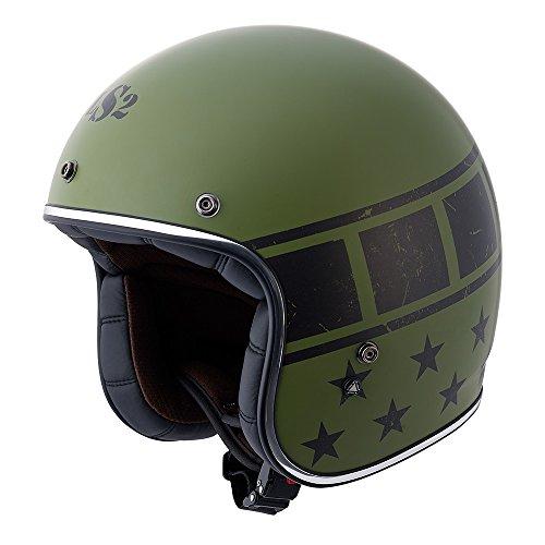 LS2 Kurt Military Bobber Motorcycle Helmet Green Small