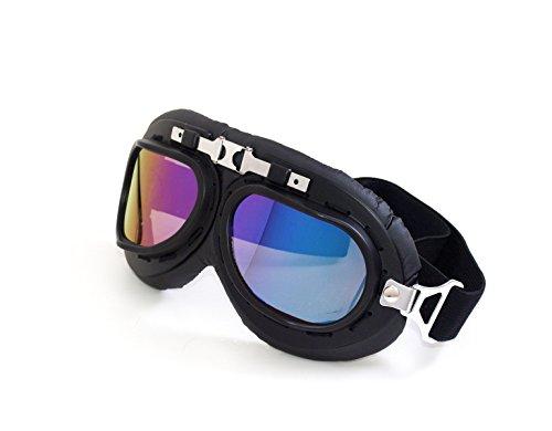 Kansmart Adult Retro Style Motorcycle Goggles Motorbike Flying Scooter Aviator Helmet Anti-uv Glasses(colorful)