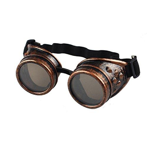 Sannysis Vintage Style Steampunk Goggles Welding Punk Glasses (red)