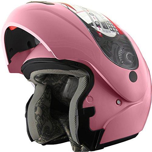 Snowmobile Helmet Motorcycle Helmet Modular Flip up Anti Fog Pink M