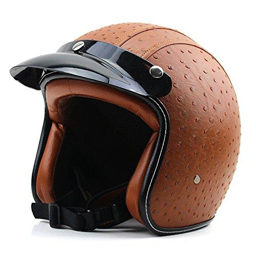 Woljay 34 Open Face Helmet Motorcycle Helmet Flat leather Brown L