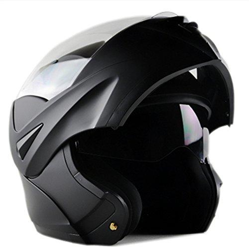 ILM 10 Colors Motorcycle Dual Visor Flip up Modular Full Face Helmet DOT L Matte Black
