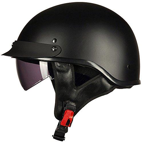 ILM Motorcycle Half Helmet With Integrated Sun Visor Quick Release Buckle DOT Approved L MATT BLACK