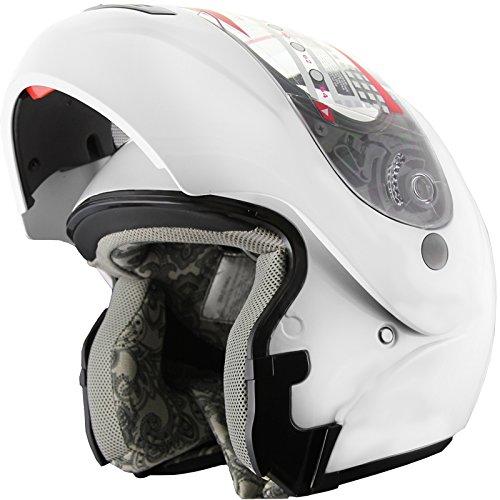Snowmobile Helmet Motorcycle Helmet Modular Flip up Anti Fog Peal White XL