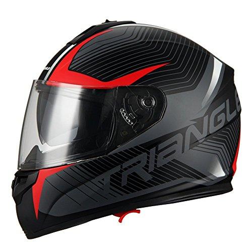 Triangle Full Face Dual Visor Matte Black Street Bike Motorcycle Helmet Large Matte Red