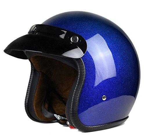 Woljay 34 Open Face helmet Motorcycle Helmet Flat Blue M