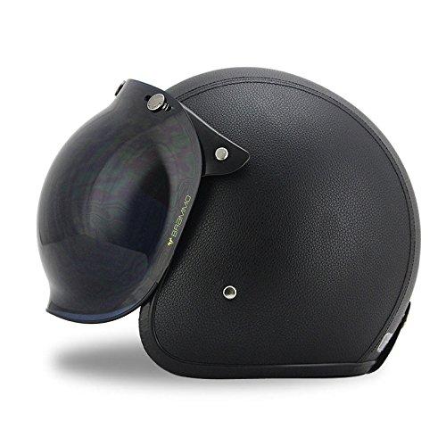 Woljay 34 Open Face helmet Motorcycle Helmet Flat Leather with Bubble Shield Black M