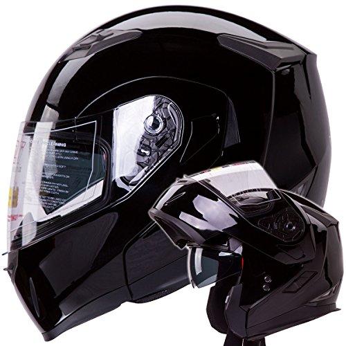 IV2 Gloss Black Dual Visor Modular Flip-Up Motorcycle Adventure Touring Helmet DOT - Large