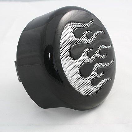 Bkrider 4-5/8 Black Horn Cover With Chrome Flame Insert For Harley-davidson