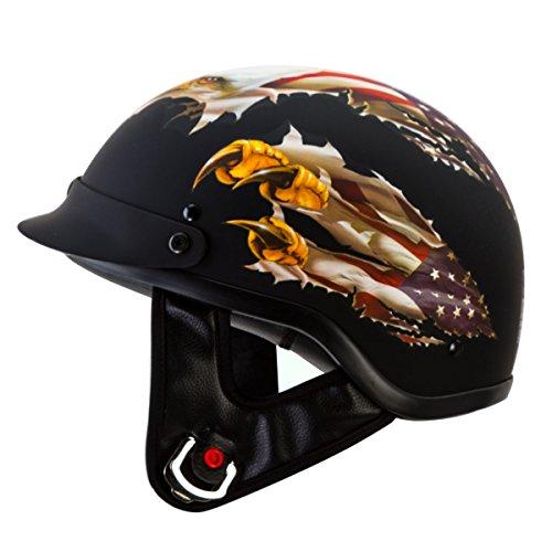 IV2 USA EAGLE Matte Black Chopper Cruiser Beanie Half Helmet Motorcycle Helmet DESIGNED BY LETHAL THREAT DOT - Large