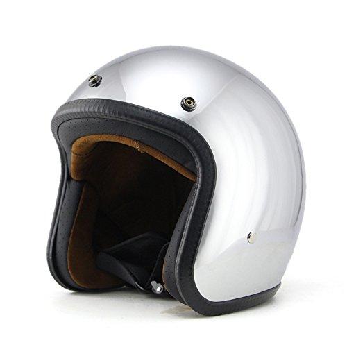 Woljay 34 Open Face helmet Motorcycle Helmet Flat Chrome M
