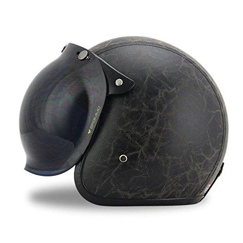 Woljay 34 Open Face helmet Motorcycle Helmet Flat Leather with Bubble Shield Black S