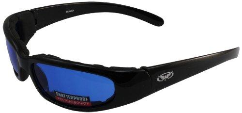 Global Vision Chicago Padded Riding Glasses (black Frame/blue Lens)