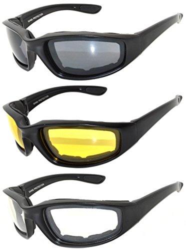 Men Women Motorcycle Padded Black Glasses For Outdoor Activity Sport 1,2,3 Pack