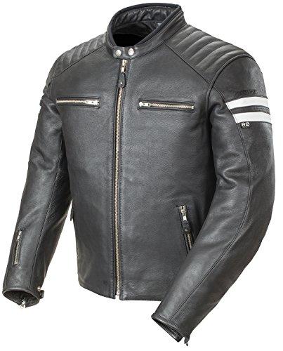 Joe Rocket Classic '92 Men's Leather Motorcycle Jacket (black/white, Large)