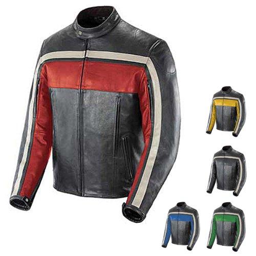 Joe Rocket Old School Men's Leather Motorcycle Jacket (black/black/ivory, X-large)