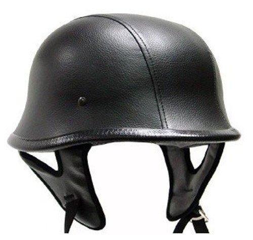 Black Leather German Motorcycle Helmet DOT XX Large