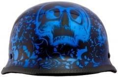DOT Blue Boneyard German Motorcycle Helmet with Skulls Size XL X-Large