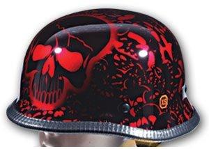 DOT Red Boneyard German Motorcycle Helmet with Skulls Size L LG Large