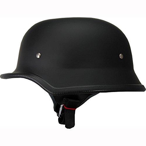German Motorcycle Half Helmet Low Profile Shiny Black XL
