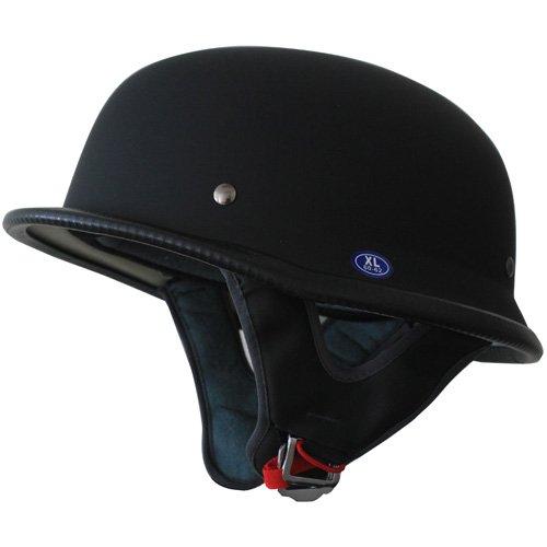 Low Profile German Motorcycle Half Helmet Matt Black XXL