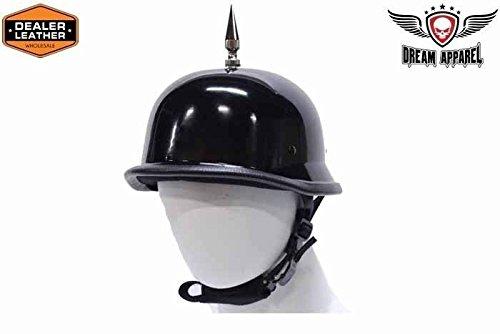 MENS MOTORCYCLE FIBER GLASS NOT DOT APPROVED HELMET SHINY SPIKE GERMAN NOVELTY XL Regular