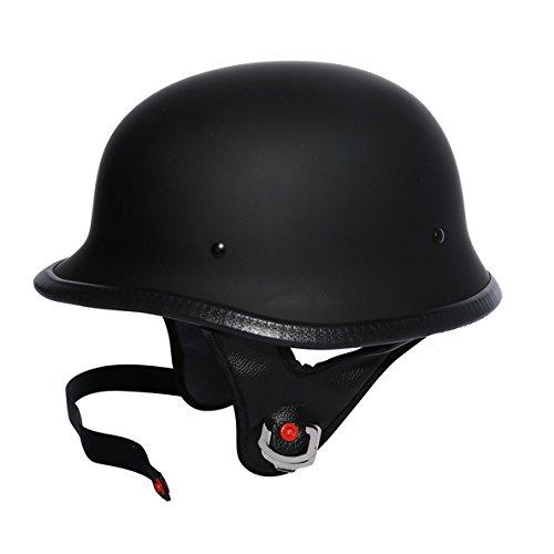 Tengchang Matte Black DOT German Motorcycle Street Half Helmet Chopper Cruiser Biker XL