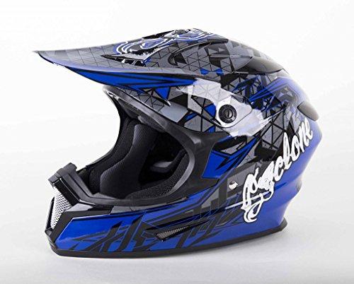 Cyclone ATV MX Motocross Dirt Bike Quad Off-road Helmet - Blue - Large