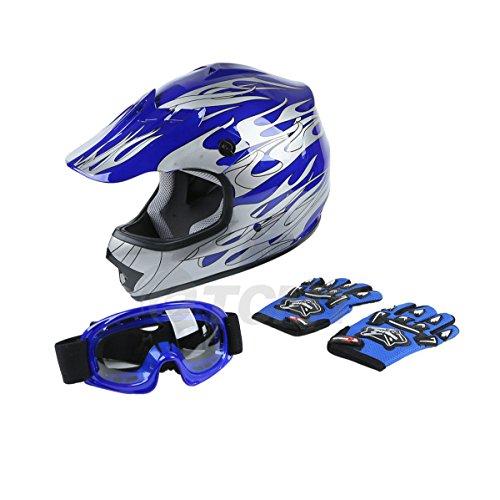 TCMT Dot Youth Kids Motocross Offroad Street Helmet Blue Flame Motorcycle Helmet Silver Dirt Bike HelmetGogglesgloves S