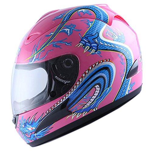 WOW Motorcycle Street Bike Full Face Helmet Blue Dragon Pink