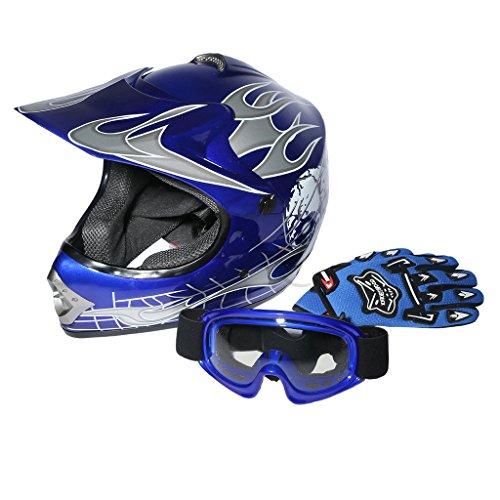 XFMT Youth Kids Motocross Offroad Street Dirt Bike Helmet Goggles Gloves Atv Mx Helmet Blue Skull L