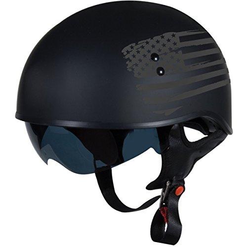 "TORC T55 Spec-Op Half Helmet with Flag"" Graphic Flat Black Medium"