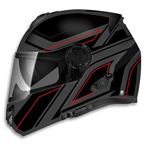 TORC  unisex-adult full-face-helmet-style T27B Avenger Bluetooth Flat Matte Black Blade Motorcycle Bike Helmet Flat BlackLarge1 Pack
