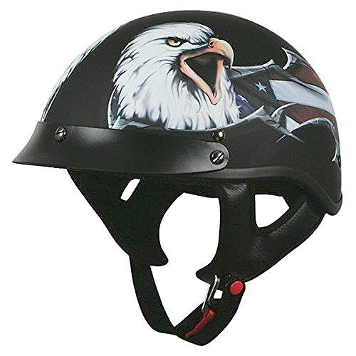 Torc T-53 Flat Black Eagle USA Half Helmet - Medium