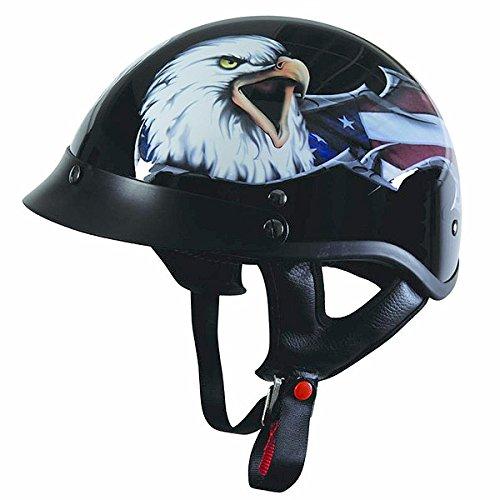 Torc T-53 Glossy Black Eagle USA Half Face Helmet - X-Large
