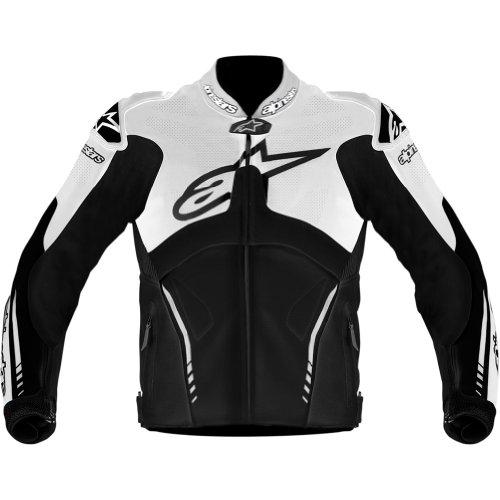 Alpinestars Atem Men's Leather Street Racing Motorcycle Jacket - Black/white / Size 56