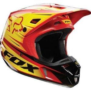 Fox Racing Race Mens V2 MotoXOff-RoadDirt Bike Motorcycle Helmet - RedYellow  X-Large