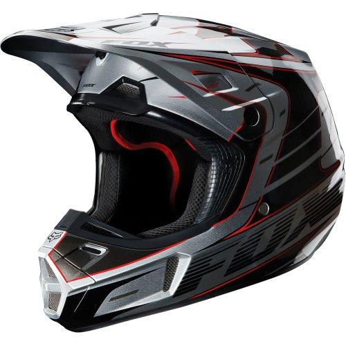 Fox Racing Race Mens V2 Motocross Motorcycle Helmet - Silver  Small