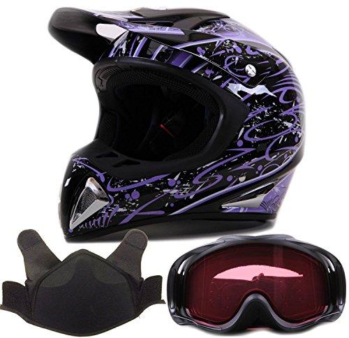 Adult Snocross Snowmobile Helmet Goggle Combo - Purple  Matte Black  Medium