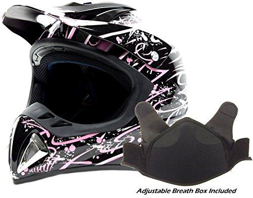 Adult Snocross Snowmobile Helmet - Pink  Medium
