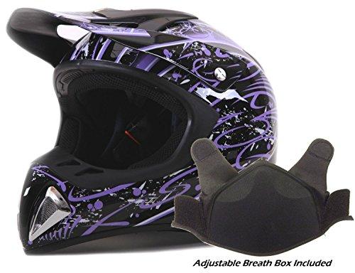 Adult Snocross Snowmobile Helmet - Purple  Medium