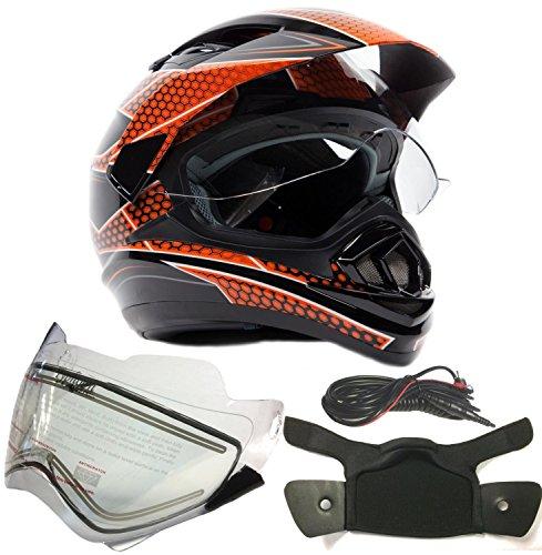 Dual Sport Snocross Snowmobile Helmet w Electric Heated Shield - Black  Orange - XXL
