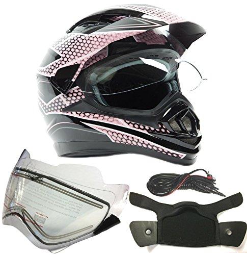 Dual Sport Snocross Snowmobile Helmet w Electric Heated Shield - Black  Pink - Medium