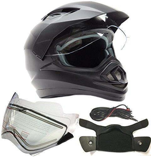 Dual Sport Snocross Snowmobile Helmet w Electric Heated Shield - Matte Black - XL