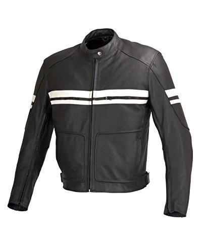 Men Motorcycle Biker Armor Leather Old School Jacket By Xtreemgear Black (s)