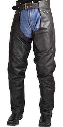 Men Women Studded Motorcycle Biker Cowhide Leather Chaps Pants Black M